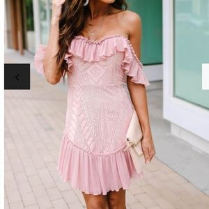 BOUQUET TOSS LACE OFF THE SHOULDER PLEATED DRESS